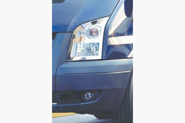 Накладки на фары (2 шт, нерж) Ford Transit 2000-2014 гг.