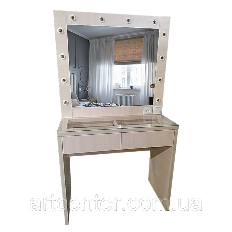 Стіл візажиста з прозорою стільницею, стіл для макіяжу з вітриною, туалетний стіл, стіл гримерный