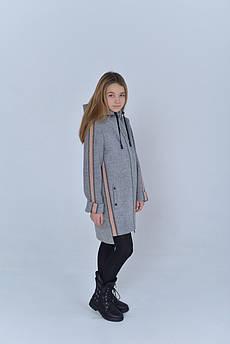Пальто детское Татьяна Филатова модель 223 серое розовый лампас