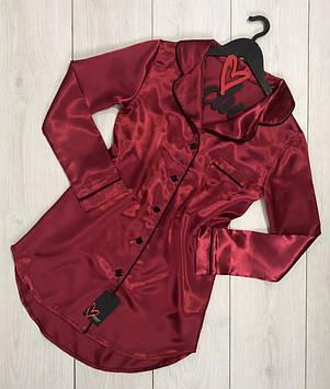 Бордовое атласное платье для дома и сна с черным кантом ТМExclusive