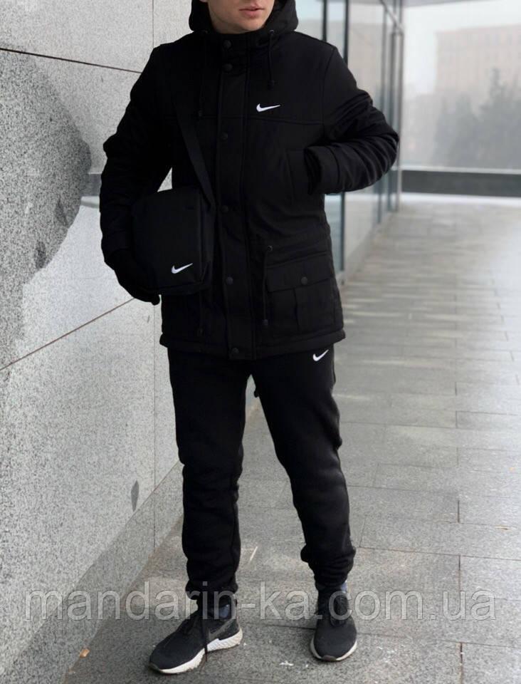 Парка  мужская  зимняя  черная  Nike Найк (реплика)