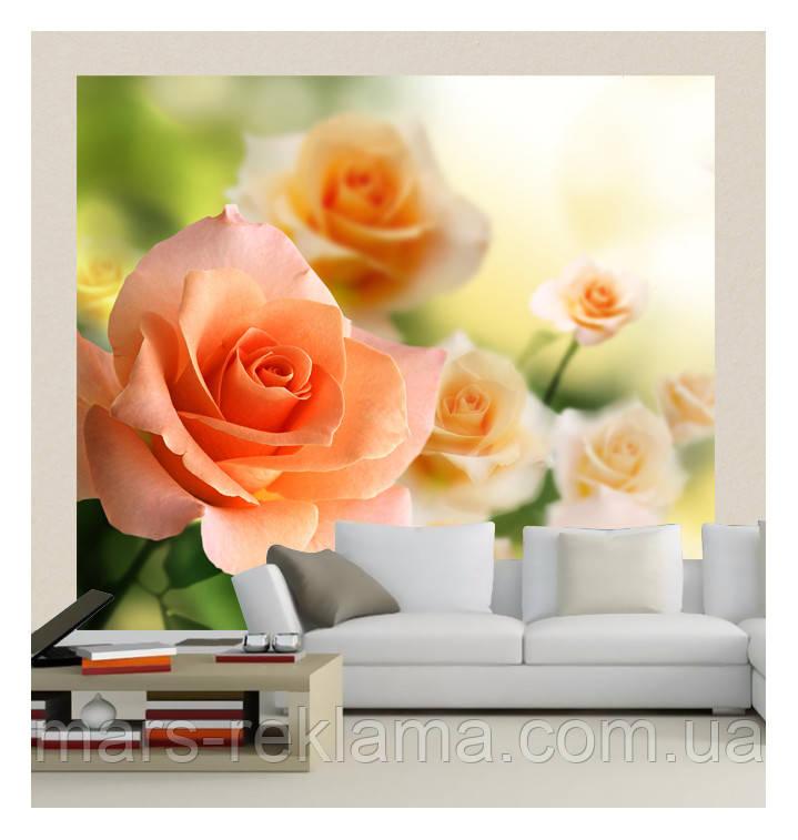 """3D фотообои """"Весенние розы"""""""