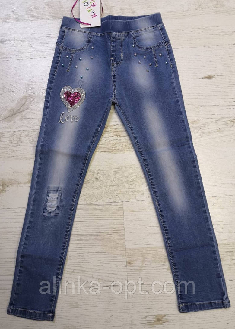 Джинсовые брюки для девочек KE YI QI оптом, 134-164 рр., фото 1