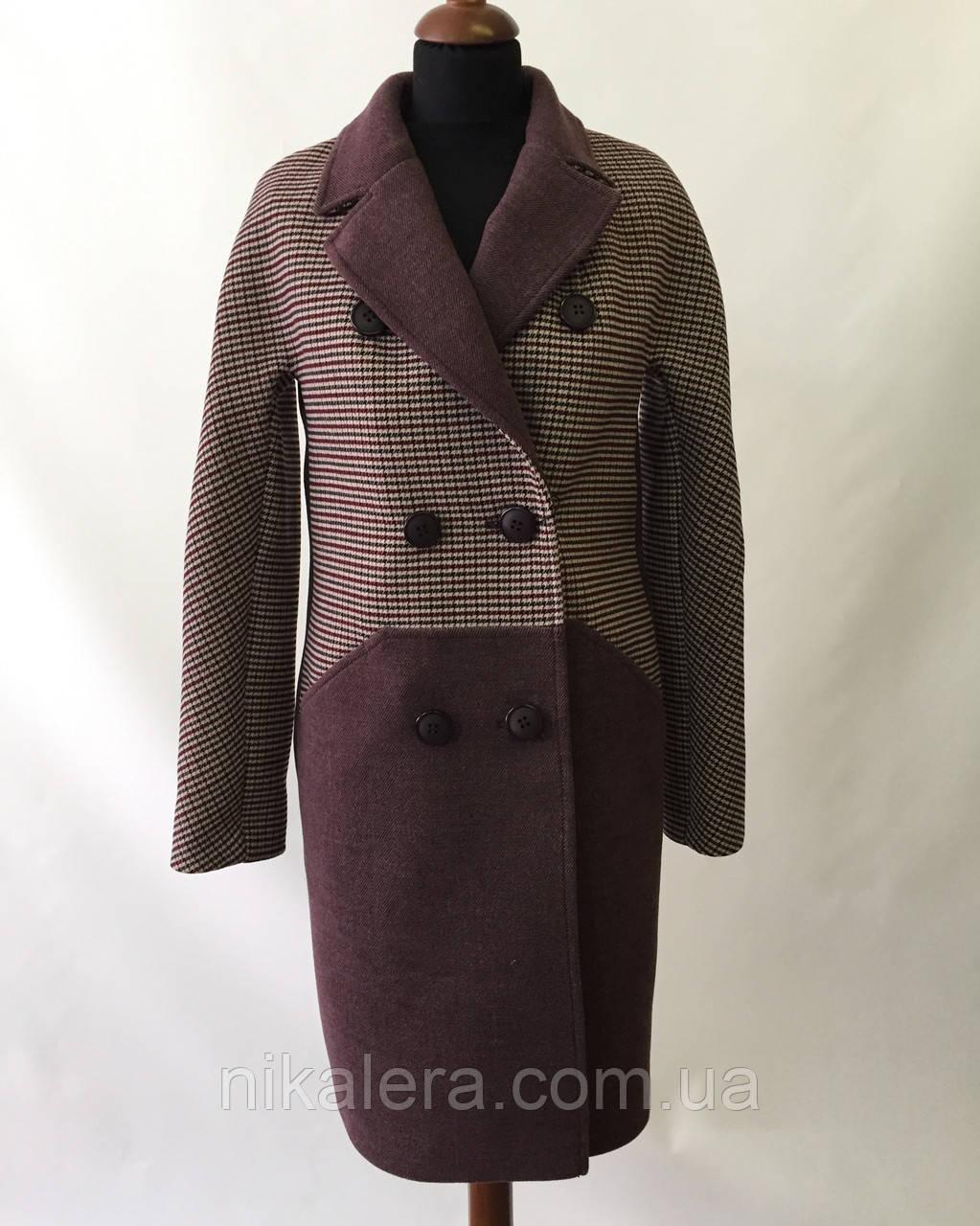 Классическое комбинированное пальто   рр 42-50