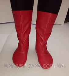 Чоботи народні червоні жіночі шкіряні