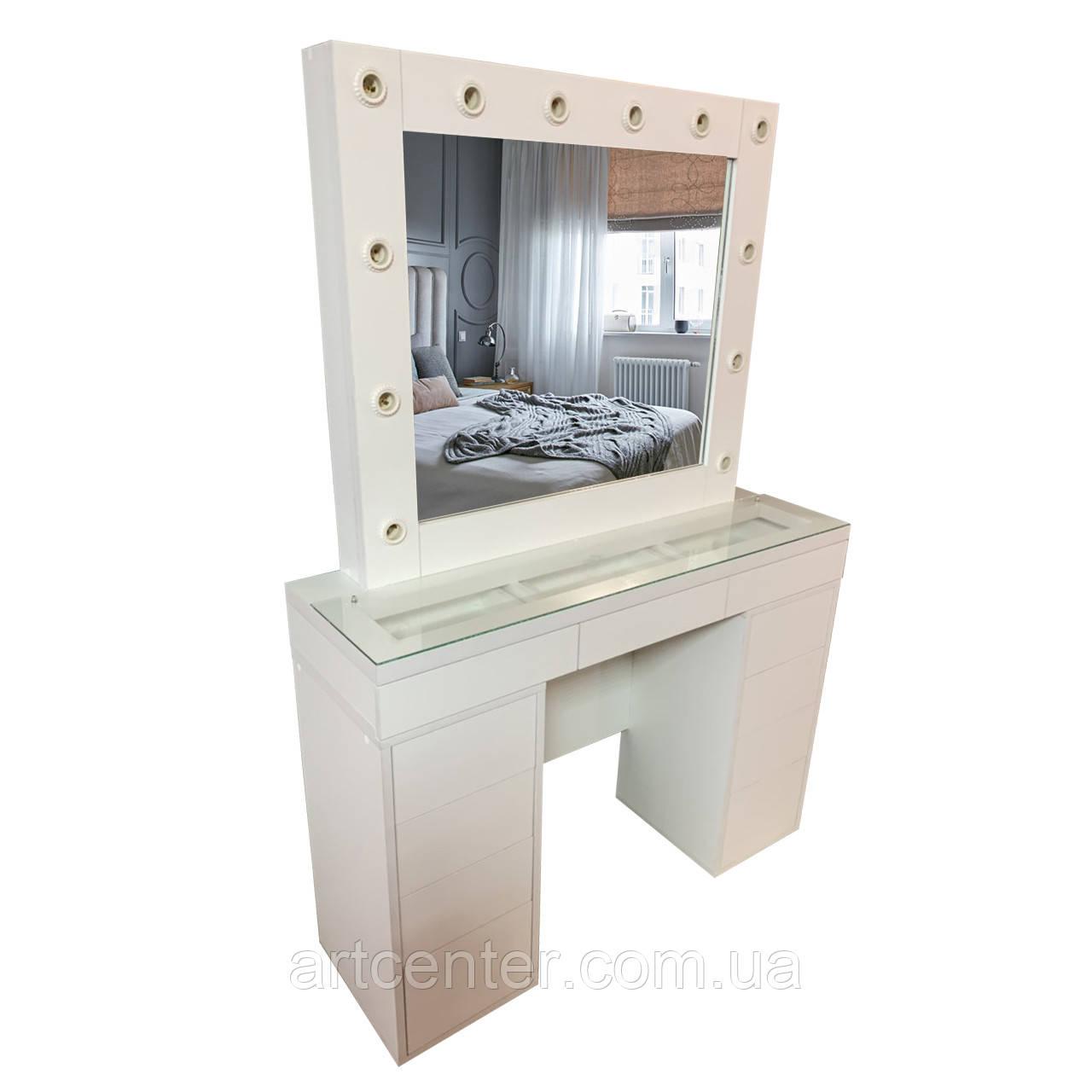 Стол визажиста с витриной, туалетный стол, гримерный стол