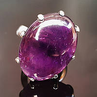 Кольцо с натуральным аметистом серебро с крупным камнем