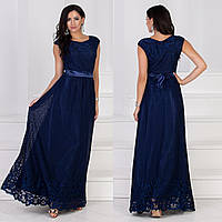 """Синее гипюровое платье в пол выпускное, вечернее """"Изабель макси"""", фото 1"""