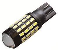 Лампа LED 12V T10 (W5W) 54SMD драйвер линза 520Lm БЕЛЫЙ