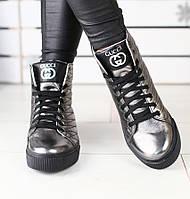 Модные демисезонные кожаные ботинки высокие кеды женские на платформе на  низком ходу никель весна E42G27FS c74ddb896b4