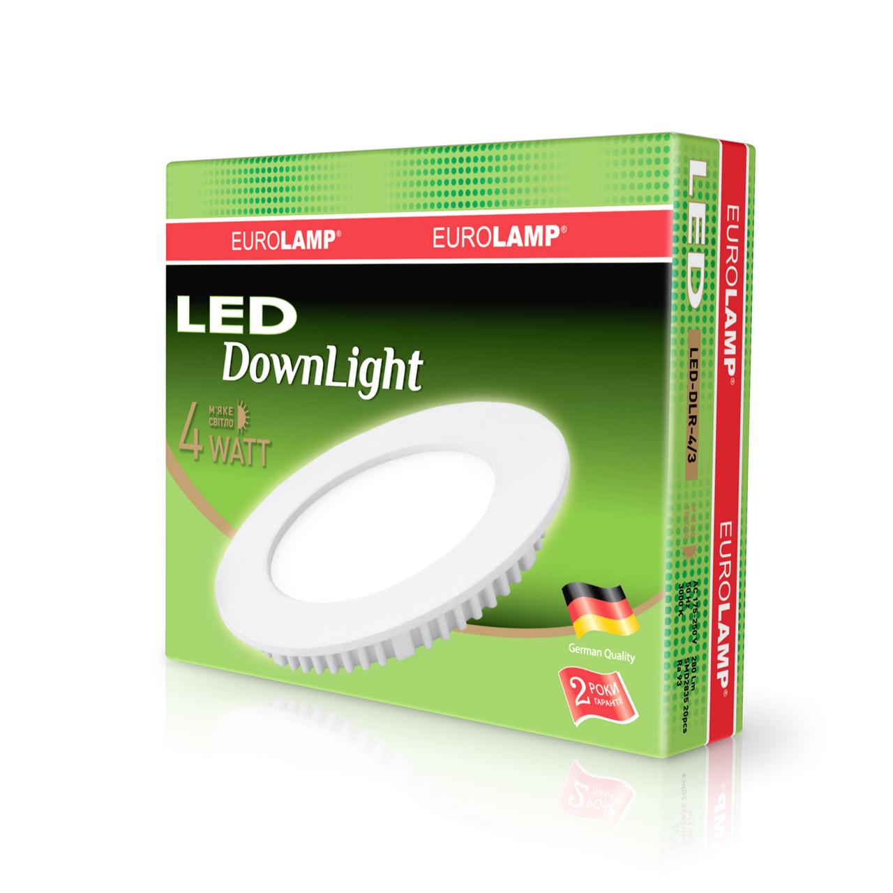 EUROLAMP LED Светильник круглый Downlight 4W 3000K 220V