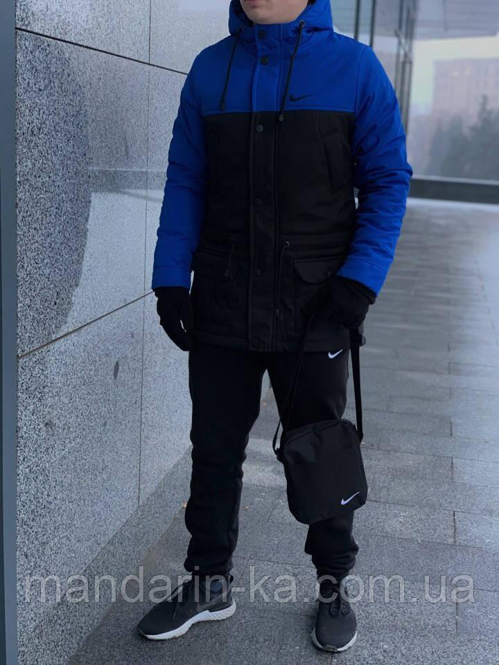 Парка мужская зимняя сине - черная Nike Найк (реплика)
