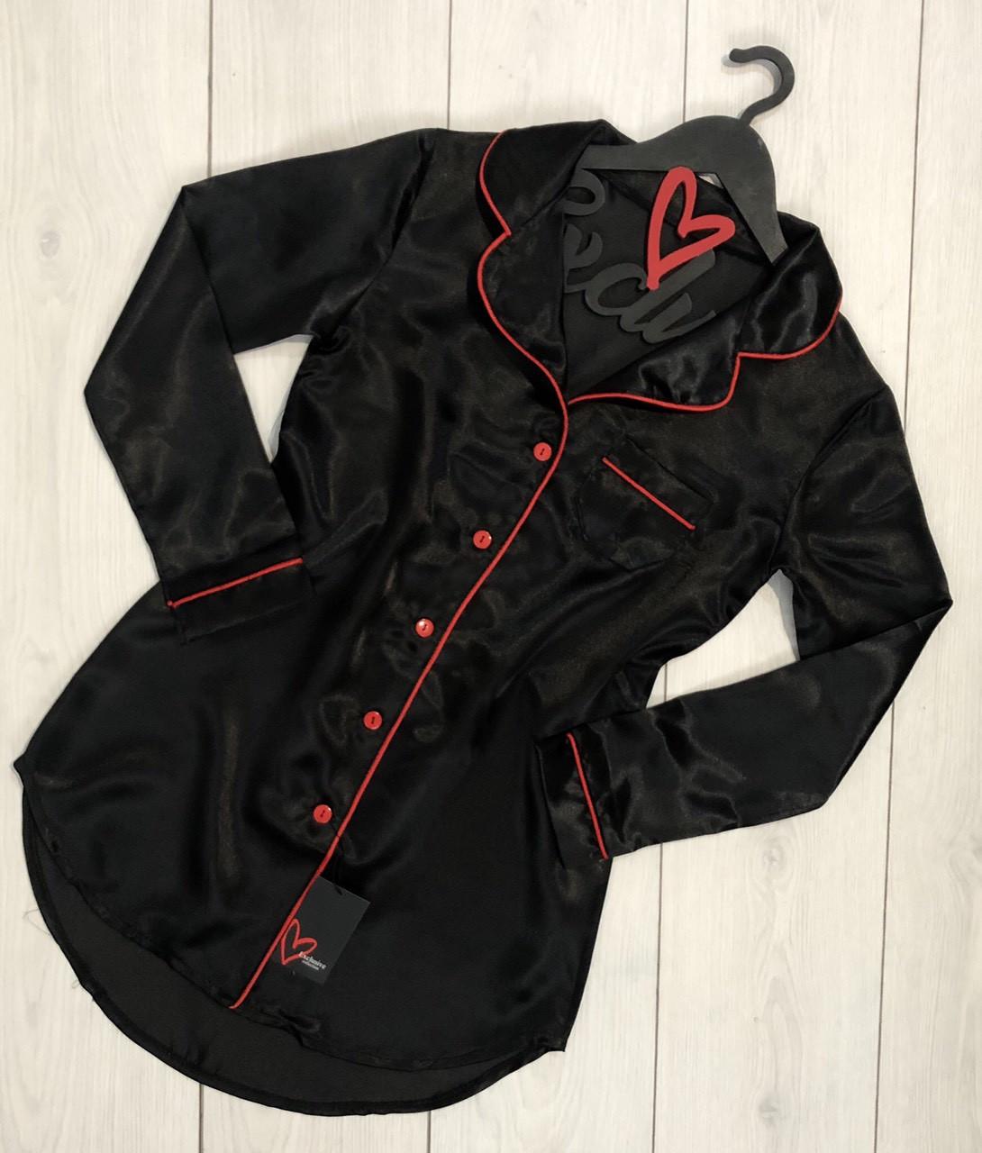 Атласное платье -рубашка с кантом ТМ Exclusive 014-1.