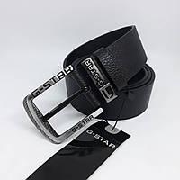 Мужской черный кожаный ремень G-STAR чоловічий ремінь шкіряний чорний пояс