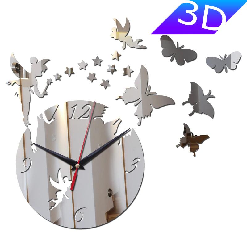 "Настенные 3D часы с зеркальным эффектом ""Butterfly"" - 3Д часы c феей и бабочками, необычные часы стикеры 40х40"