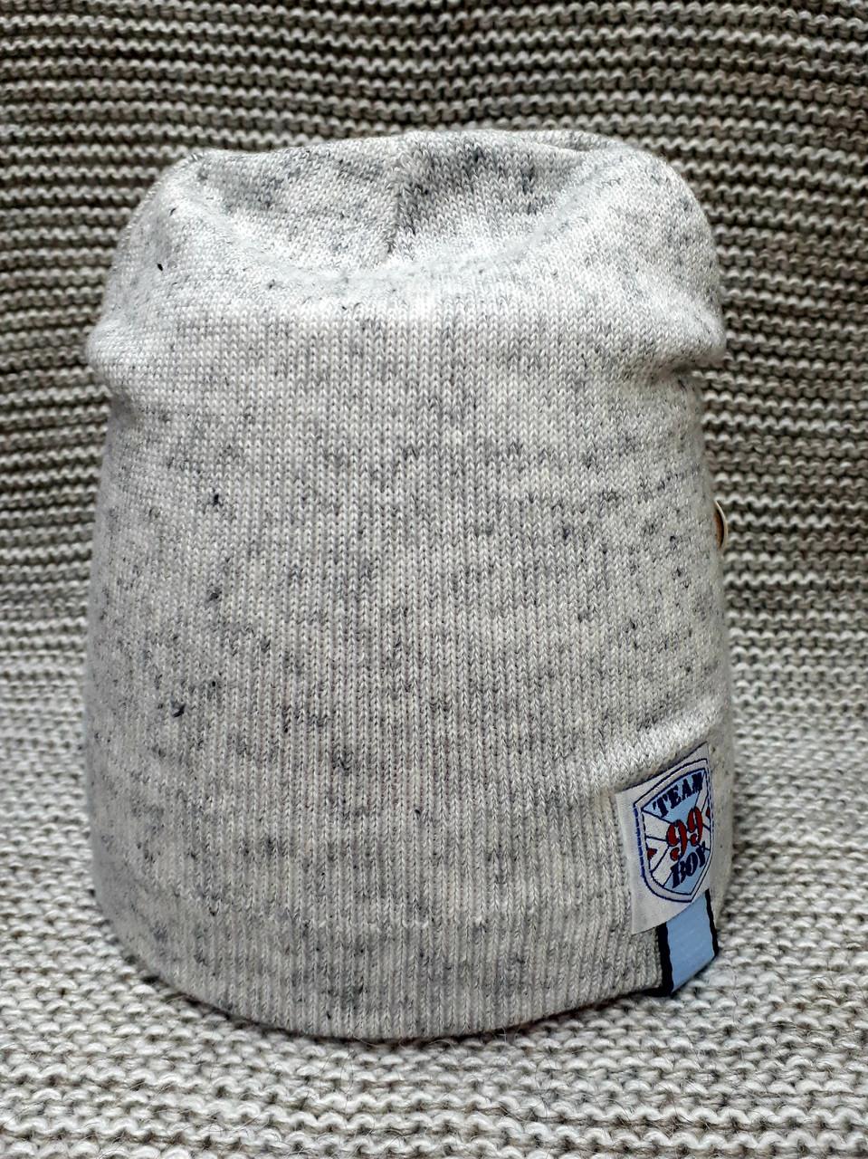 Шапка на мальчика весна-осень серый меланж ANPA (Польша) размер 46 48 50