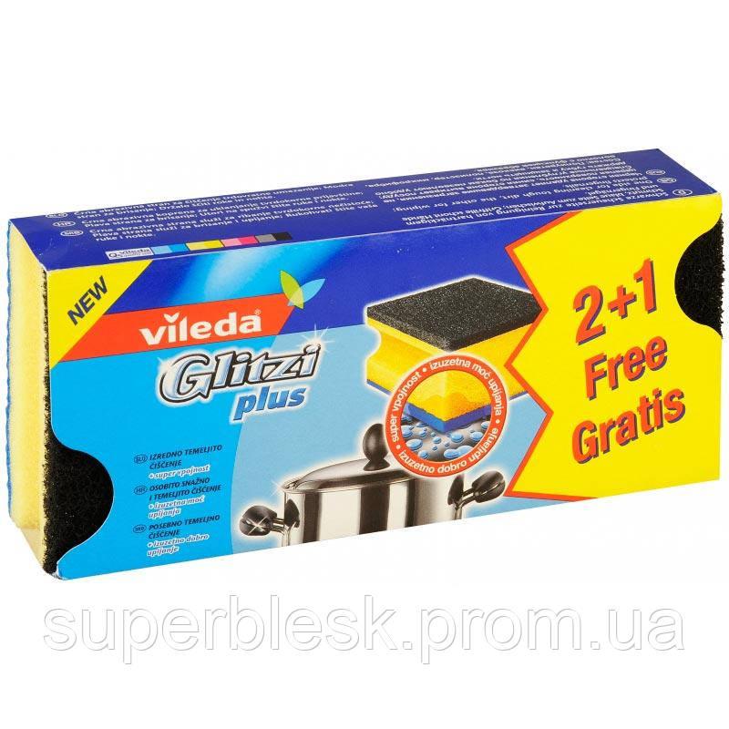 Губка кухонная для сильно загрязненной посуды Глитци Плюс (Glitzi plus), 2+1 шт