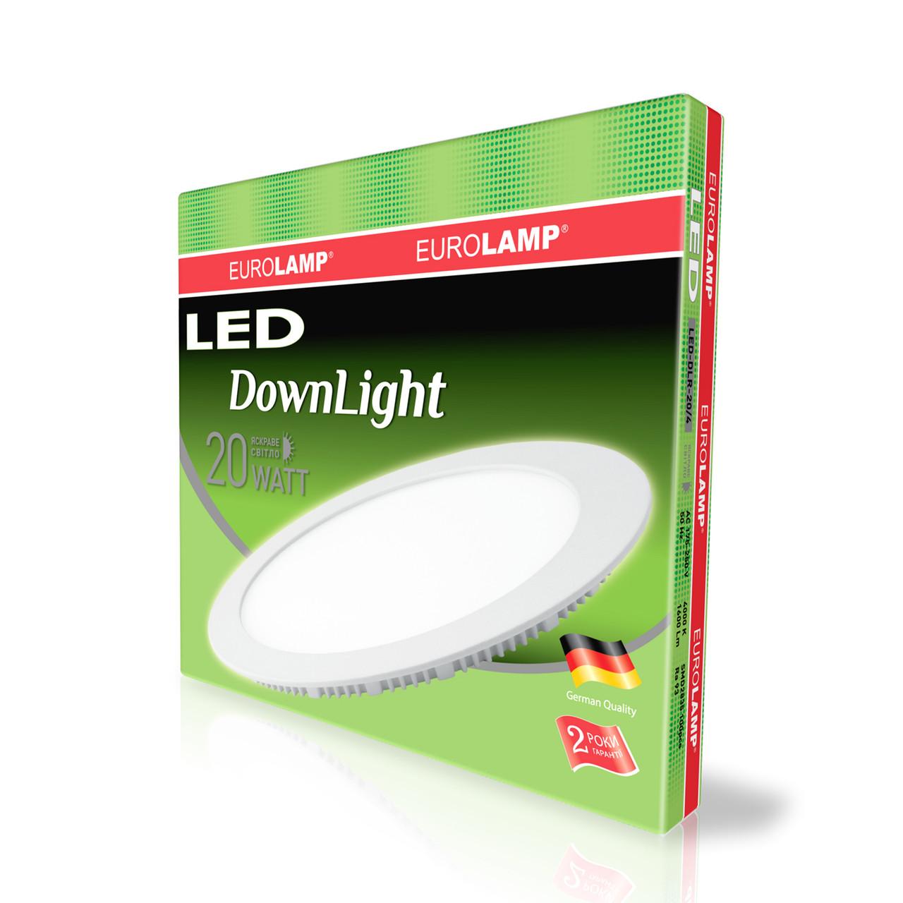 EUROLAMP LED Светильник круглый Downlight 20W 4000K 220V