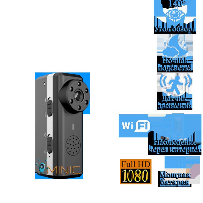 Wi-Fi мини камера W6 IP с датчиком движения и ночной подсветкой