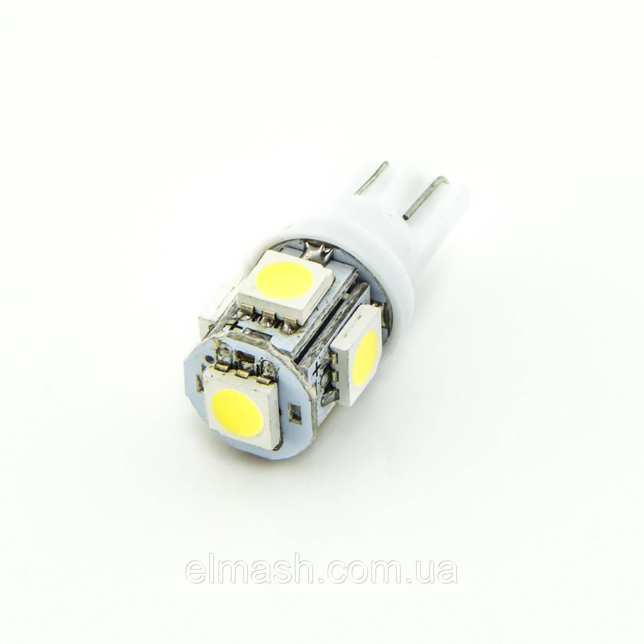 Лампа LED 12V T10 (W5W) 5SMD 5050 70Lm БЕЛЫЙ, фото 1