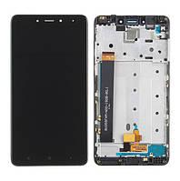Дисплей (экран) для Xiaomi Redmi NOTE 4 Mediatek + тачскрин и передней панелью в сборе, цвет черный