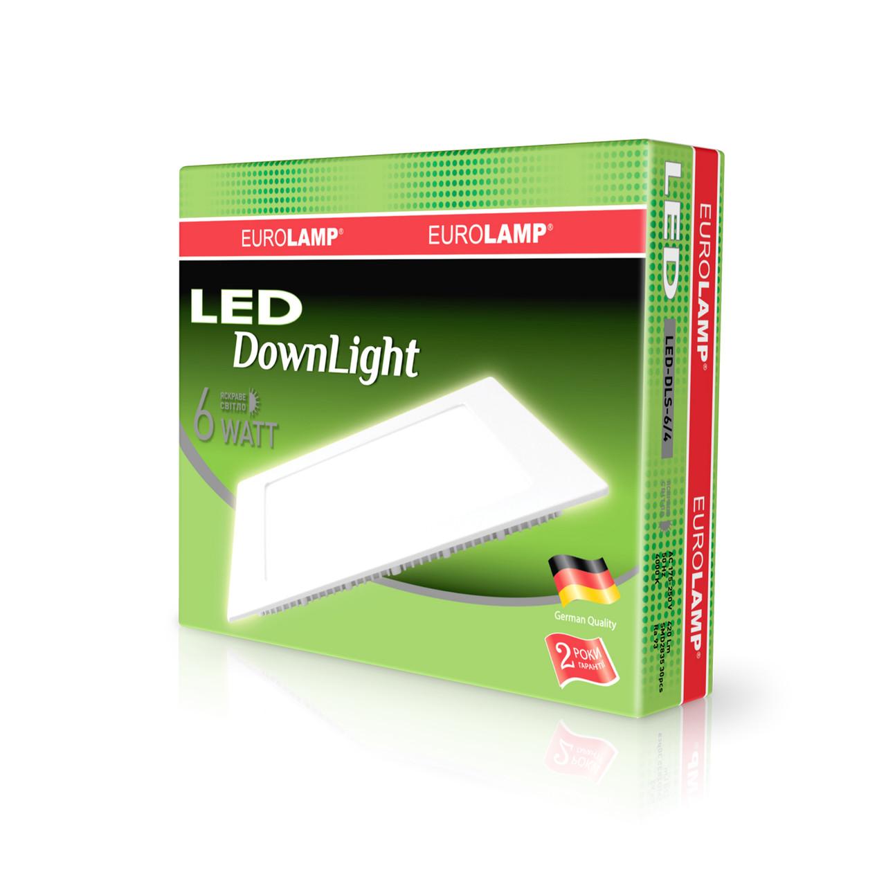 EUROLAMP LED Светильник квадратный Downlight 6W 4000K 220V