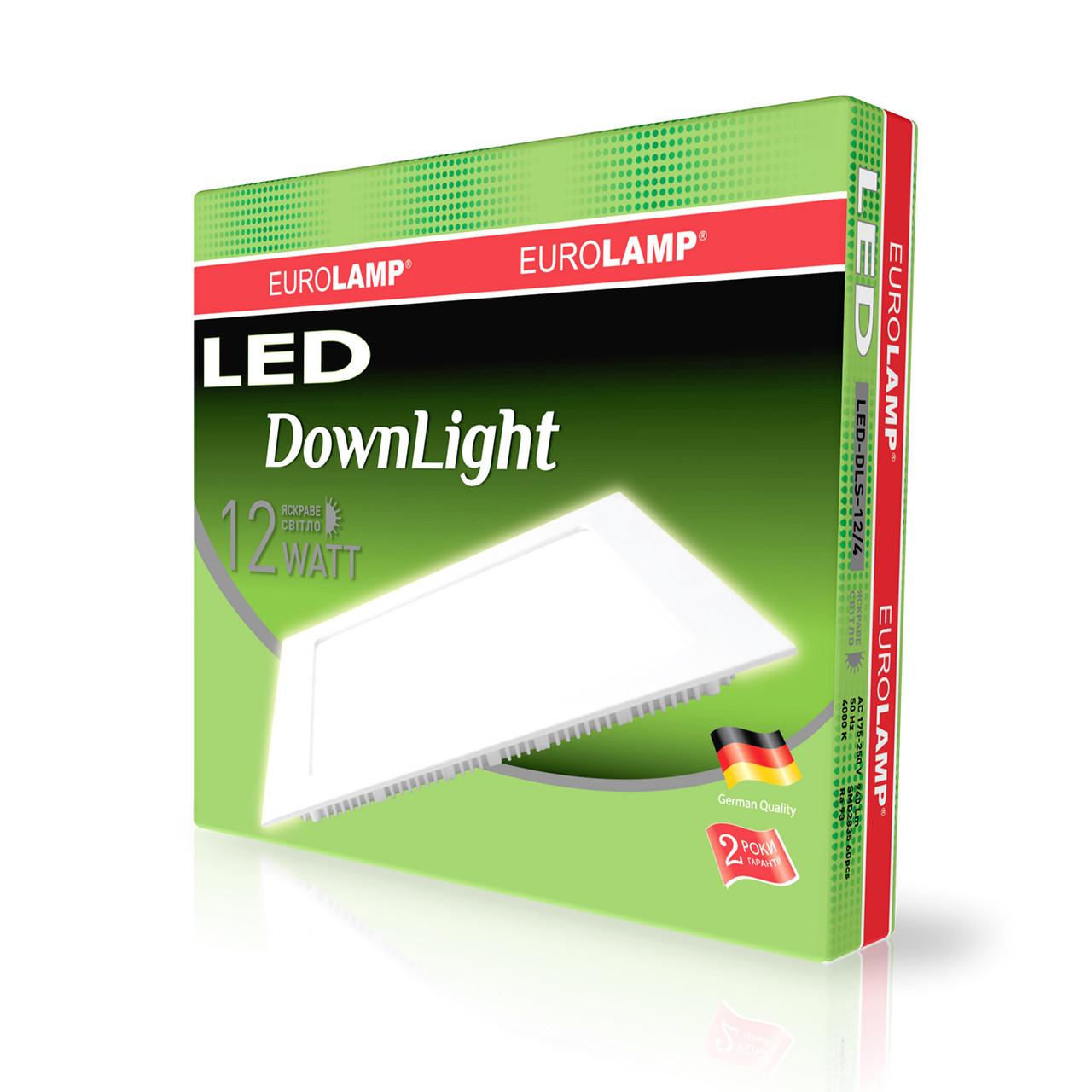 EUROLAMP LED Светильник квадратный Downlight 12W 4000K 220V