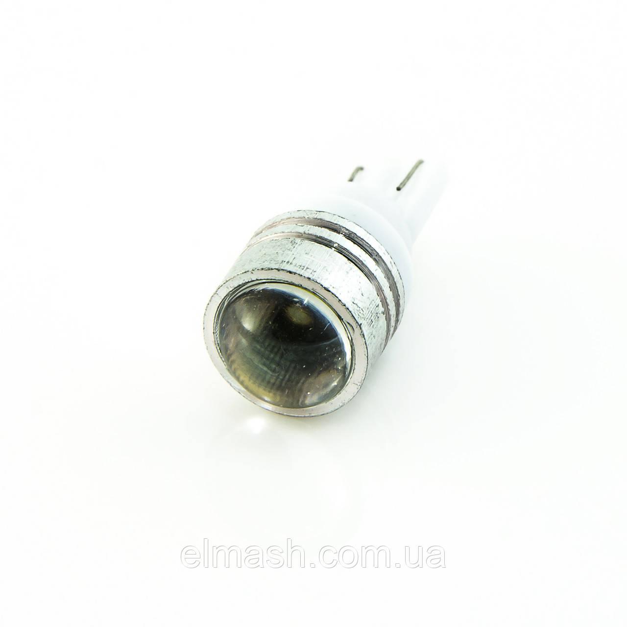 Лампа LED 12V T10 (W5W) 1W линза 35Lm БЕЛЫЙ
