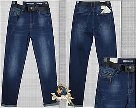 Модные женские джинсы баталы с потёртостями и ремнём 30 р