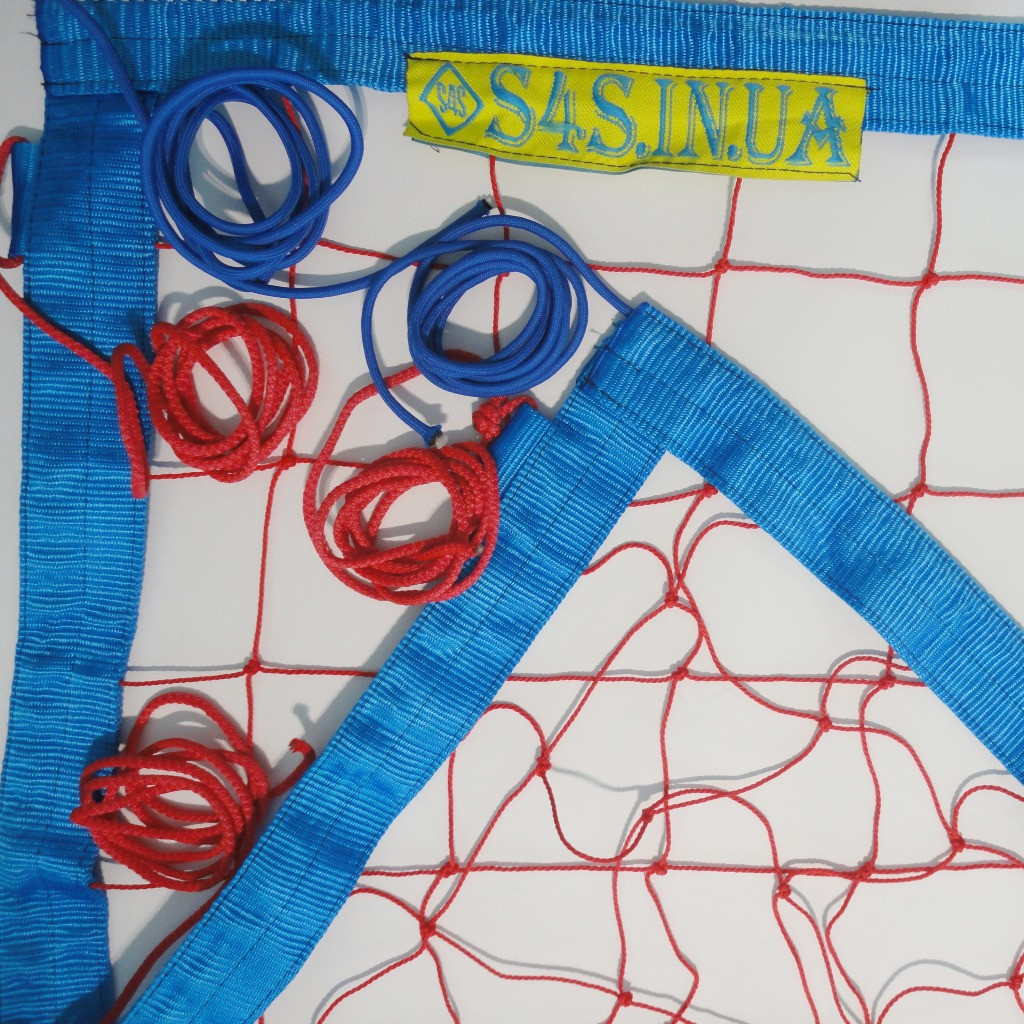 Сетка для пляжного волейбола «ТРАНЗИТ» с паракордом красно-синяя