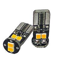 Лампа LED 12V T10 (W5W) 6SMD 2835 плата ЖЕЛТЫЙ