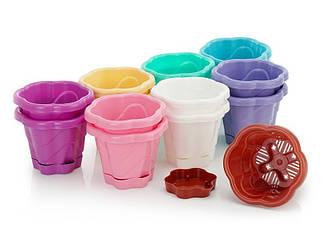 Горшок для цветов Фиалка 1л пластиковый, цвет ассорти