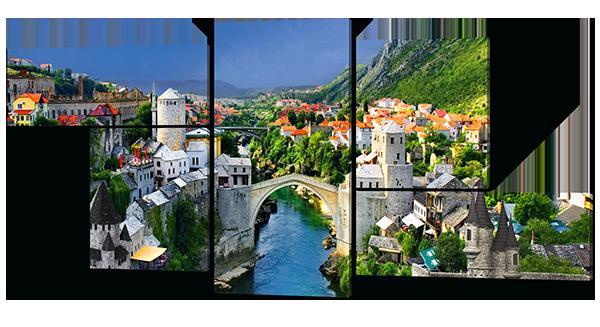 Модульная картина Interno Эко кожа Сказочный Город  164х61см (А355M)