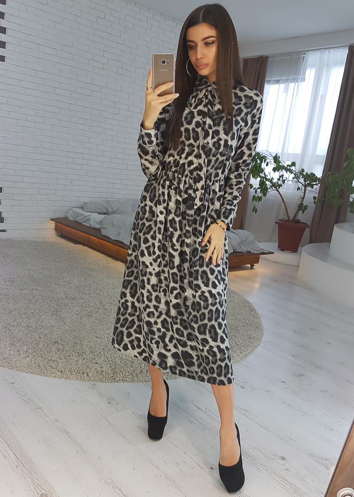 34ed2542cd7 Платье Миди в Леопардовый Принт с Завязкой на Шее VL4359 S. Размер ...