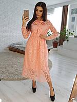 11e4e02c73a Персиковое платье миди из кружева на подкладке и с завязкой на шее VL4367  S. Размер