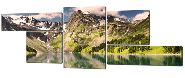 Модульная картина Interno Холст Горы и озеро  164х61см (R353M)