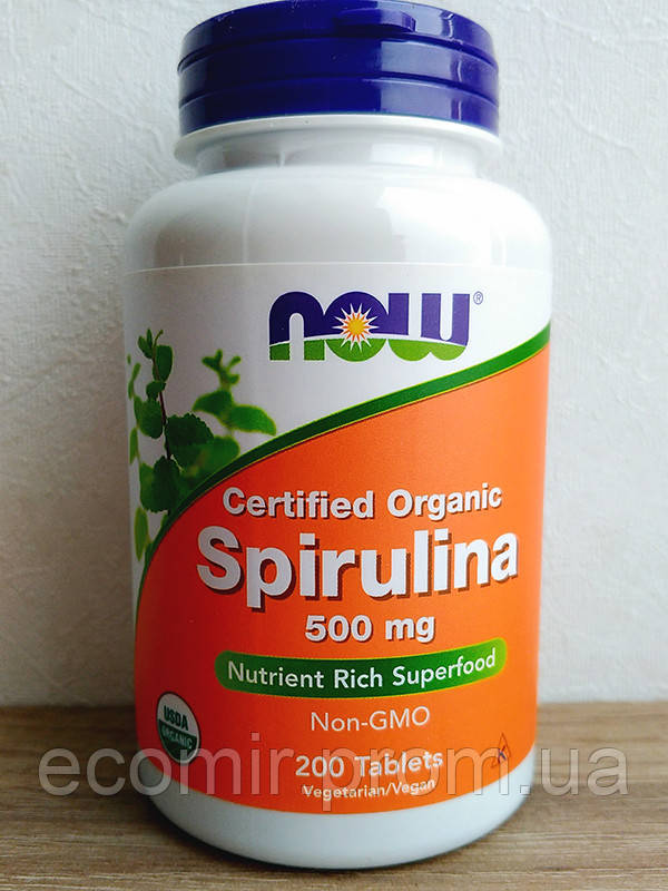 Спирулина оргнаическая, Now Foods (500 мг/ 200 таблеток)