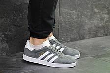 Кроссовки Adidas Gazelle замшевые,серые с белым, фото 3