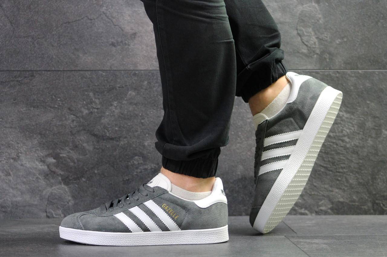 Кроссовки Adidas Gazelle замшевые,серые с белым
