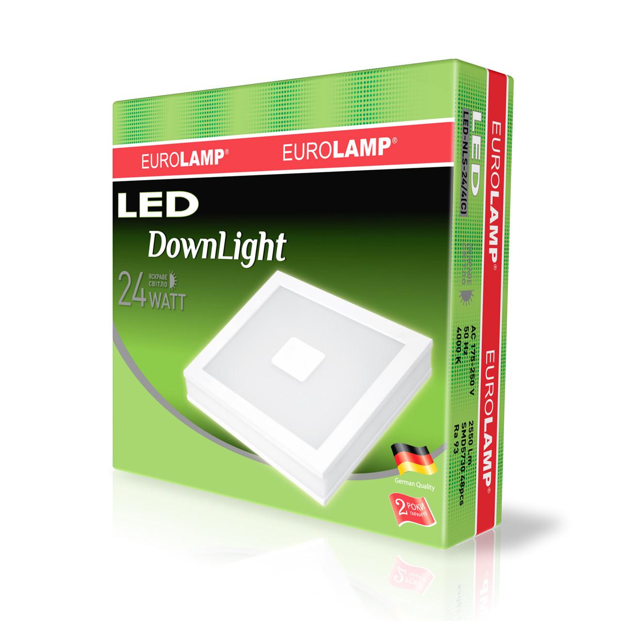 EUROLAMP LED Светильник квадратный накладной Downlight NEW 24W 4000K