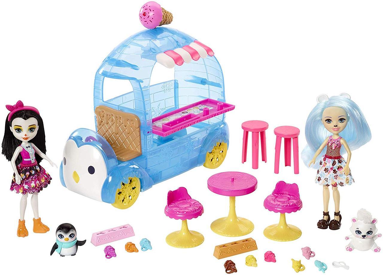 Игровой набор Enchantimals Энчантималс Прина Пингвина и Полярный белый медведь Лайла фургончик мороженого