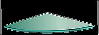 Полка НСК угловая радиусная стеклянная 300ммх300ммх5мм, прозрачная с креплениями, фото 1