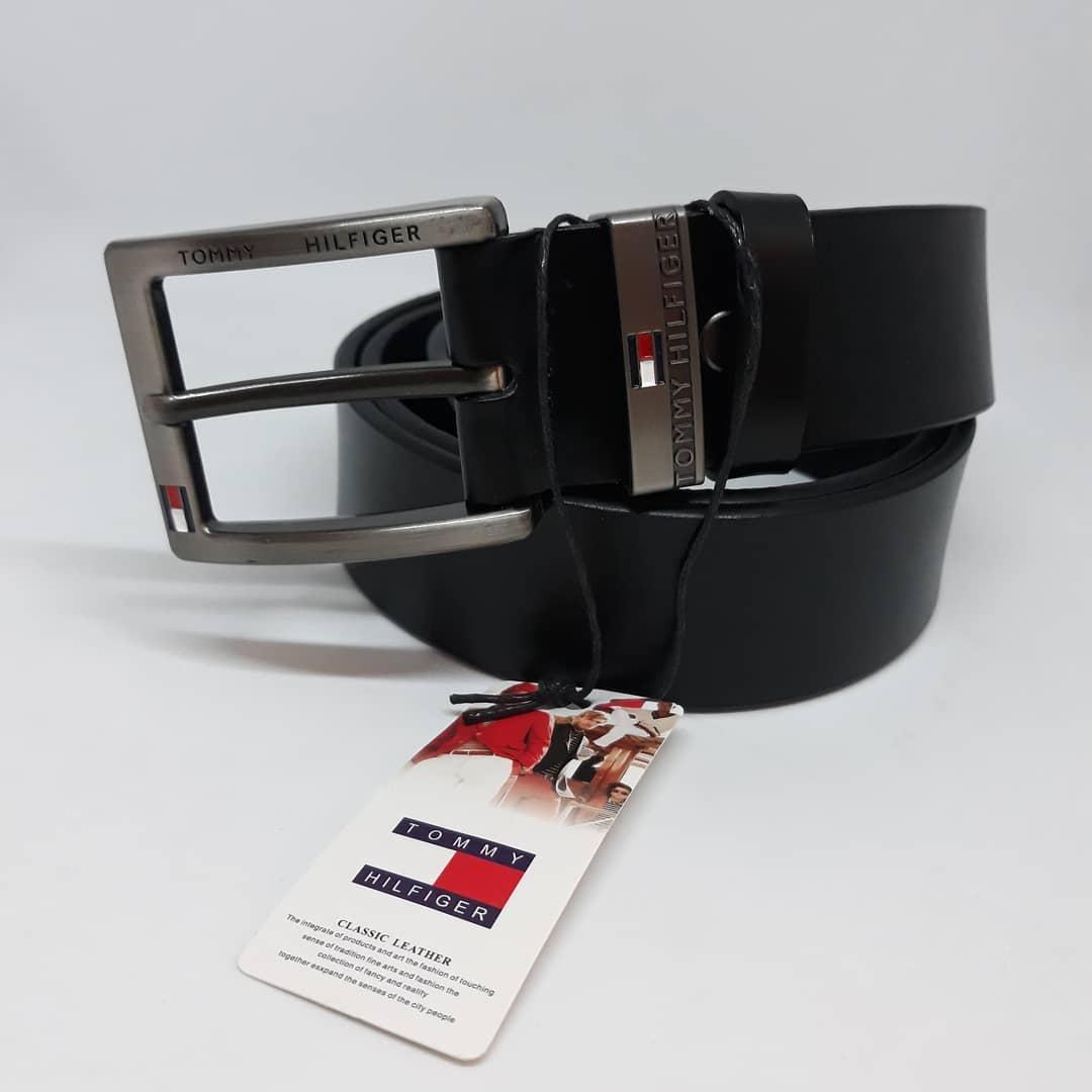 Мужской черный кожаный ремень Tommy Hilfiger чоловічий ремінь шкіряний чорний  пояс e316f25c17ee4