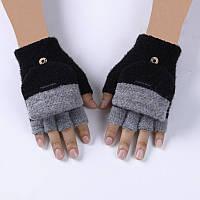 Перчатки с открывающимися пальцами унисекс черные опт, фото 1