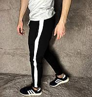 Мужские штаны спортивные черные с лампасами весенние осенние. Живое фото. 12 расцветок