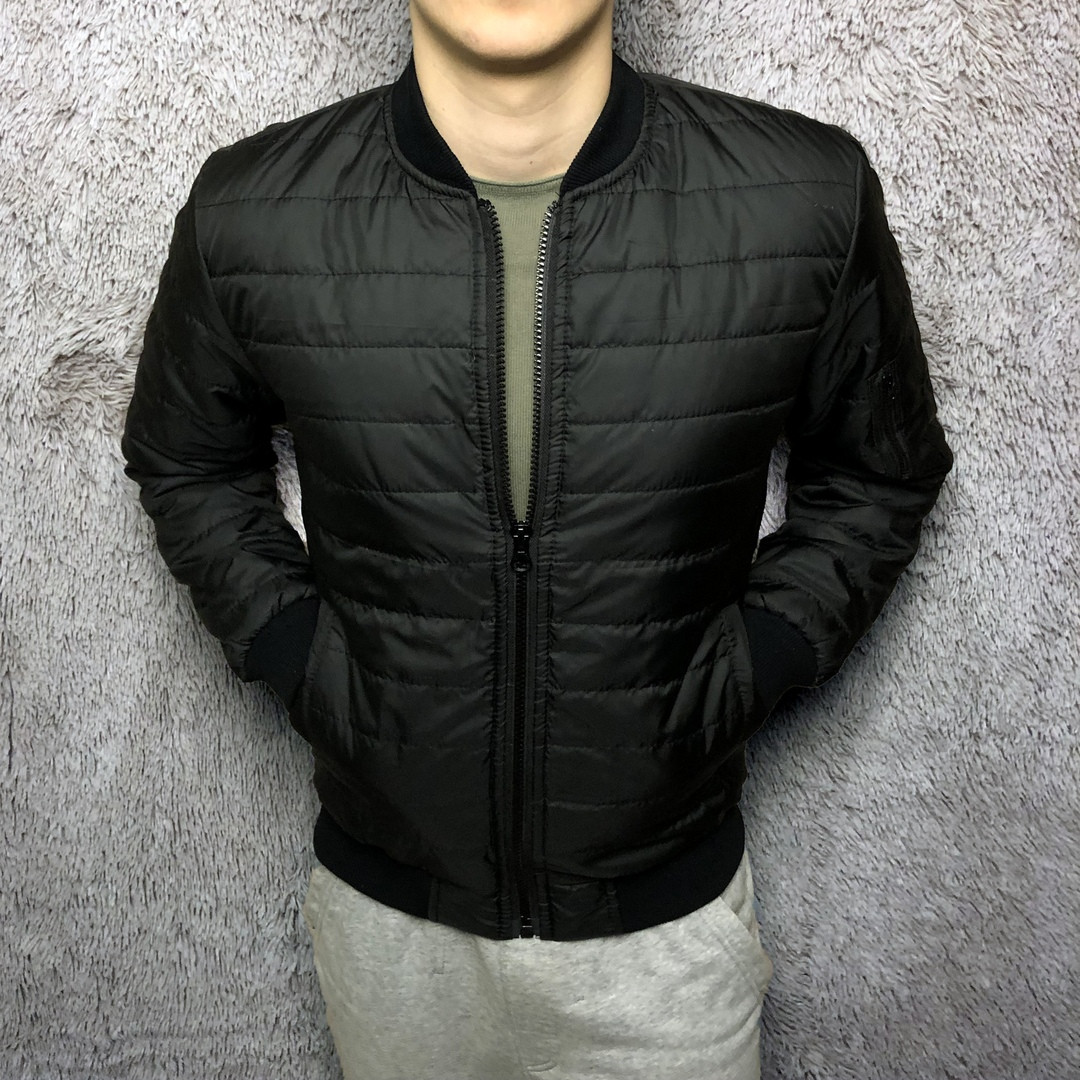 Куртка бомбер мужской черный. Турция. Живое фото