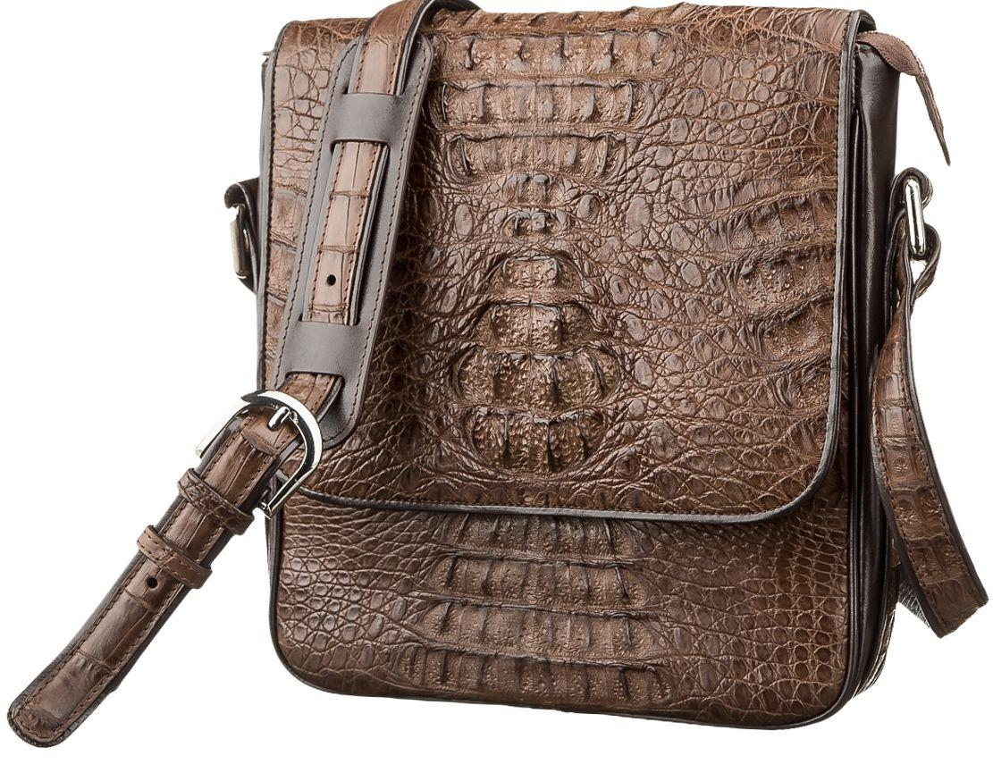 Сумка мужская Ekzotic Leather из натуральной кожи крокодила Коричневая