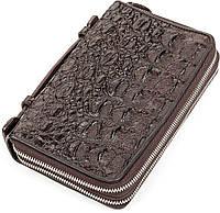Клатч Ekzotic Leather из натуральной кожи крокодила Коричневый, фото 1