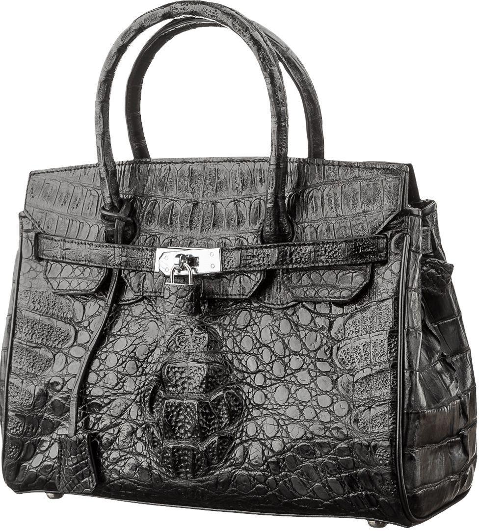 Сумка женская Ekzotic Leather из натуральной кожи крокодила Черная