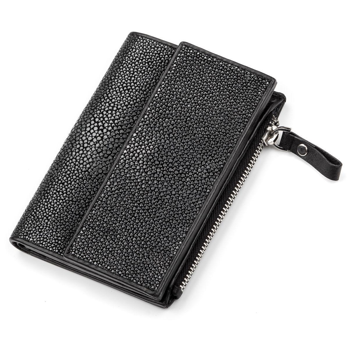 Портмоне Ekzotic Leather из натуральной кожи морского ската Черное